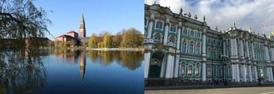 town hall Kiel, winter palace Saint Petersburg